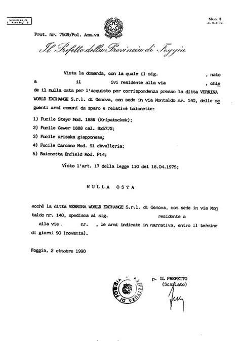 Ufficio Postale Carugate Cessione Di Armi