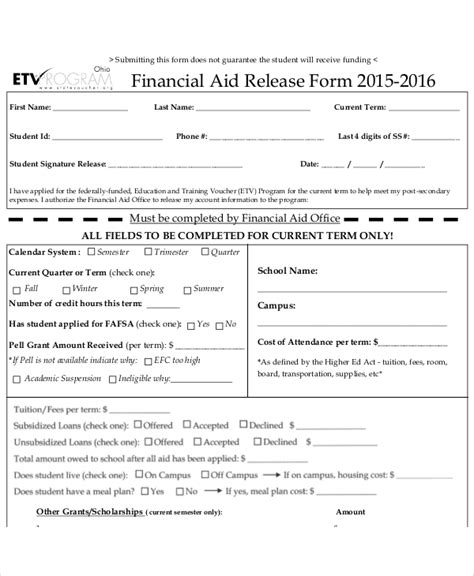 sample financial release form  examples  word