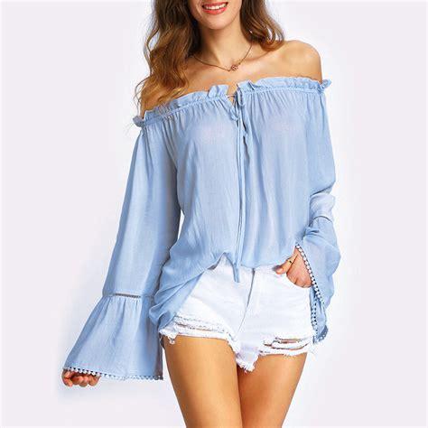 light blue blouse womens bell sleeve blouse petal sleeves light blue top women