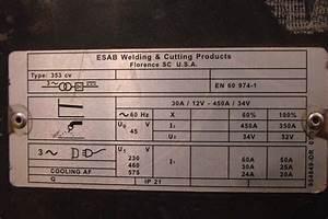 Esab 3 Phase 230  460 Volt 353 Cv Mig Welder With Mig 4hd