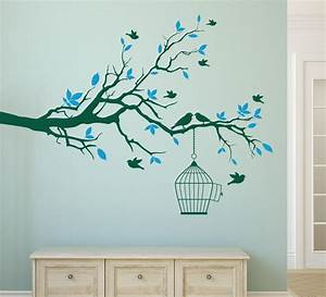Wall art design ideas top blue spring branches