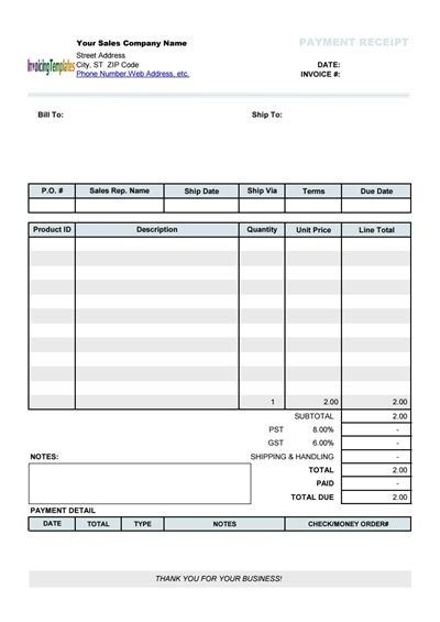 fee receipt format free payment receipt template download