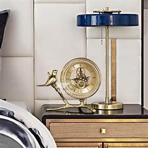Luxury, Skeleton, Desk, Clock, Office, Gold, Metal, Decorative, Bird, Modern
