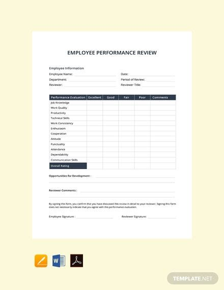 simple performance review template  word