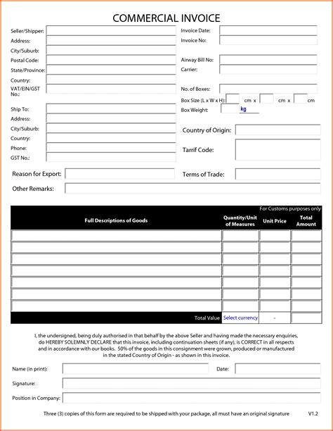 commercial invoice  fillable invoice template ideas