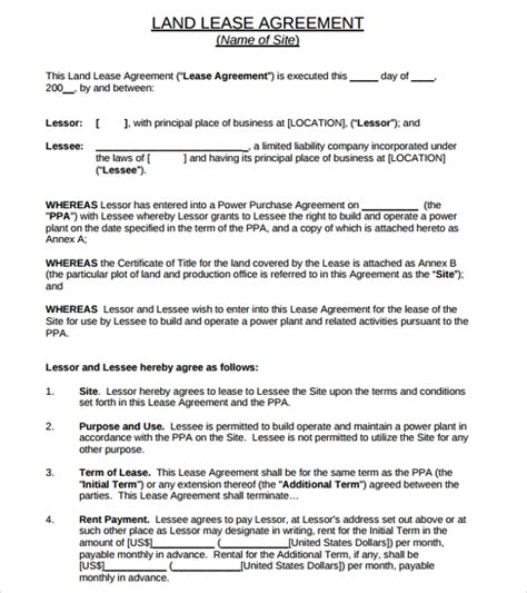 sample land lease agreement template   documents