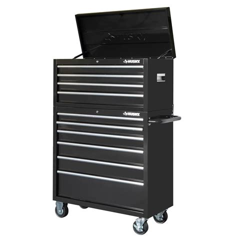 husky 40 in 10 drawer tool chest and rolling tool cabinet set black glossy black shop your