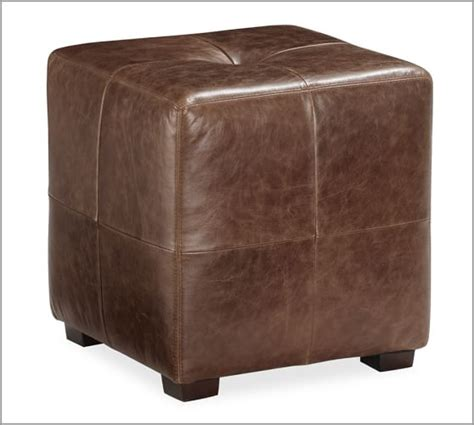 sullivan leather square sullivan leather cube pottery barn