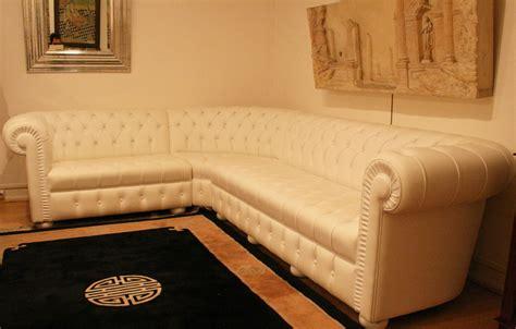 canap chesterfield cuir blanc grand canapé d 39 angle chesterfield en cuir blanc 4897