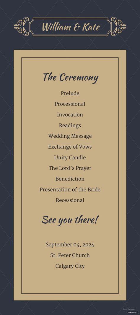 traditional wedding program template  adobe photoshop