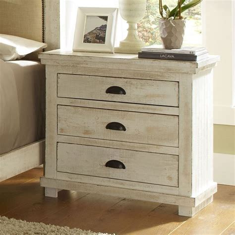 White Distressed Nightstand by Willow Nightstand Distressed White Progressive Furniture