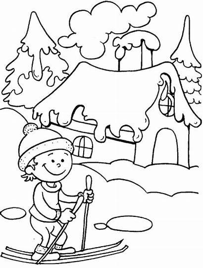 Winter Coloring Ski Pages Ride Printable Season