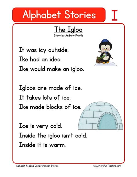 Reading Comprehension Worksheet  The Igloo