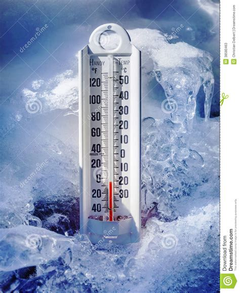 ice cold thermometer  ice  snow stock  image