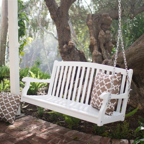 coral coast pleasant bay white curved back porch swing with optional cushion porch swings at - Deck Swing