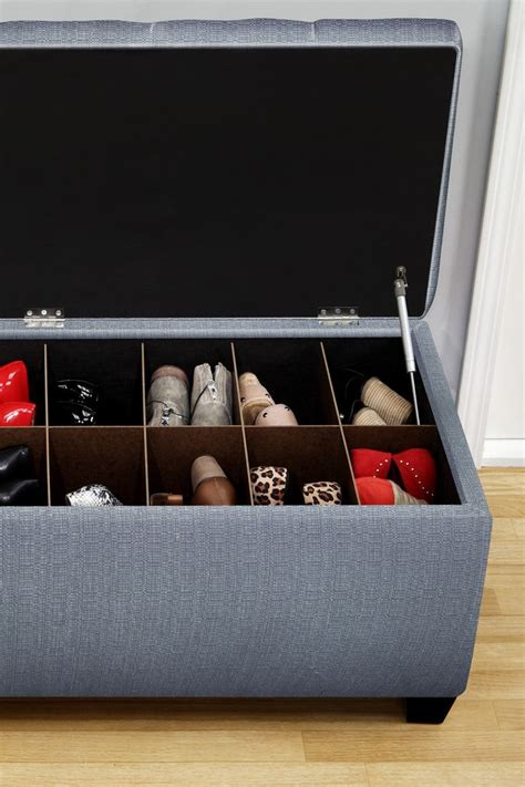 Upholstered Shoe Storage Bench by Sole Designs From Hautelook The Sole Secret Blue