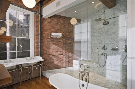 faux brick wall bathroom industrial  freestanding bath