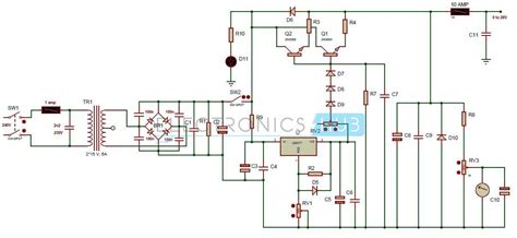 0 28v 6 8a power supply circuit using lm317 and 2n3055 proyectos electronicos electr 243 nica