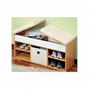 Banc Avec Rangement : banc chaussures avec rangements et coussin d 39 assise ac ~ Melissatoandfro.com Idées de Décoration