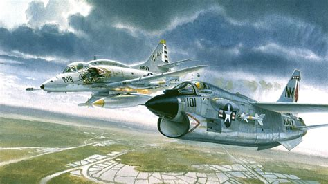 douglas   skyhawk ltv   corsair ii hit  pair fire