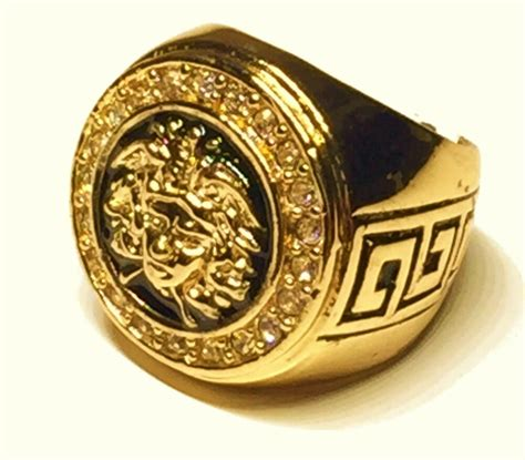 mens versace style gold filled  medusa chunky ring