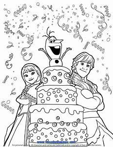 Kristoff Anna Olaf Surprise Birthday Coloring Pagegif