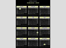 Yearly Calendar 2019 Template with Indonesia Holidays Free