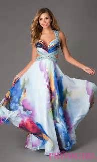 fabric flowers floral print dave and johnny prom gown