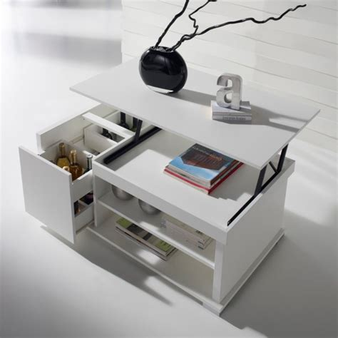 pack cuisine table basse relevable blanche concept