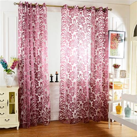 european flower printed tulle curtain window screening