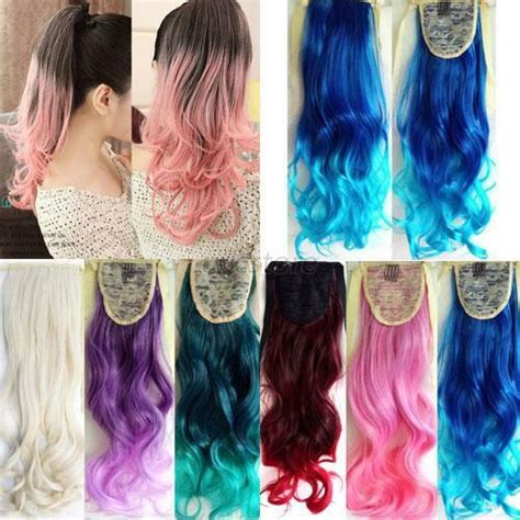 Cool Color Hairstyles by Stylish Ombre Mix Color 53cm Wavy Curly Ponytail Hair