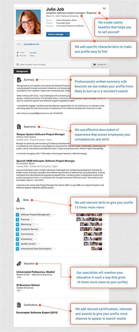 Resume From Linkedin by Sle Linkedin Profile Resume Writing Lab