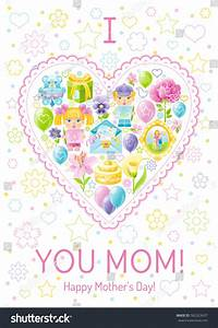 Love Mom Greeting Card Mothers Day Stock Vector 582323437 ...