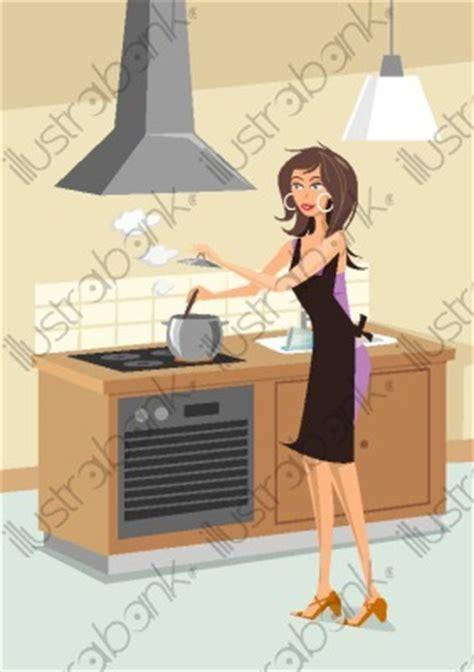 femme en cuisine illustration cuisinant libre de droit sur