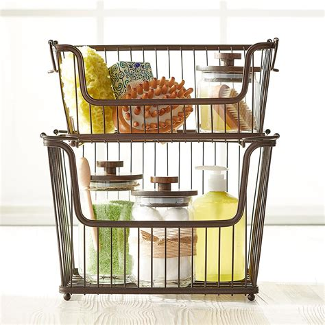 kitchen storage basket large basket large bronze york open stackable basket 3118