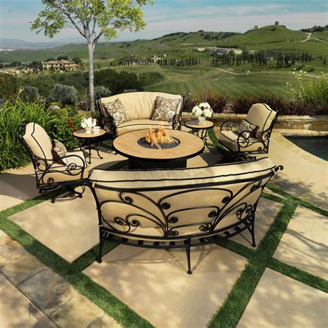 patio furniture fire pit table set ow lee ashbury patio set with fire pit furniture for patio