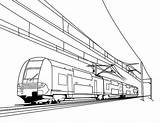 Train Coloring Pages Drawing Electric Railroad Cable Freight Crossing Bullet Caboose Passenger Trains Printable Metro Drawings Thomas Speed Engine Getdrawings sketch template