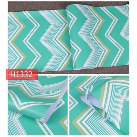 wallpaper sticker dinding biru hijau tosca putih zig
