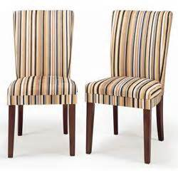 beige and black striped upholstered parson dining chair