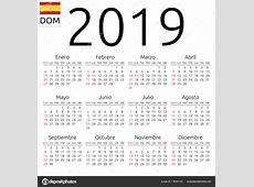 Vector calendario 2019 español Calendario 2019, español