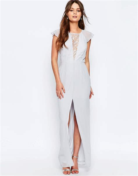 elise ryan lace insert maxi dress  frill sleeves