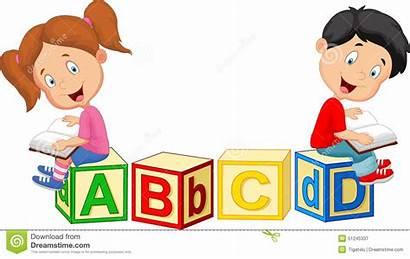 Blocks Cartoon Reading Cartoons Children Alphabet Sitting