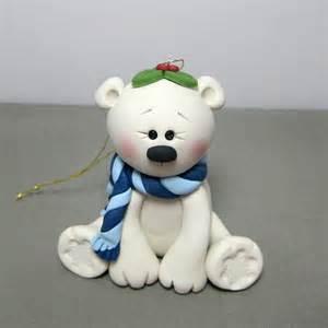 reserved for carol winter polar bear polymer clay ornament