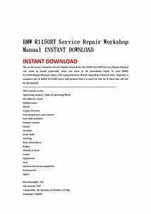 Bmw R1150rt Service Repair Workshop Manual Instant