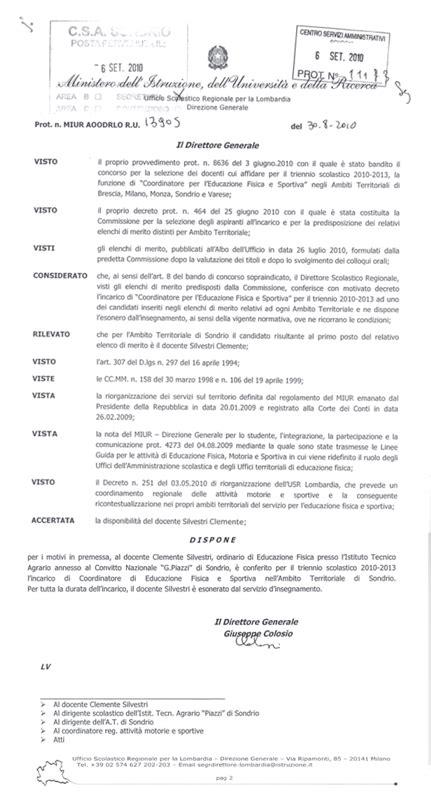 Ufficio Scolastico Sondrio by Coordinatore Ufficio Educazione Fisica E Sportiva Sondrio