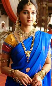 Anushka Shetty Cute Stills In Blue Saree Tollywood Stars