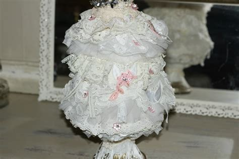 shabby chic lace tabletop shabby christmas tree with vintage lace and