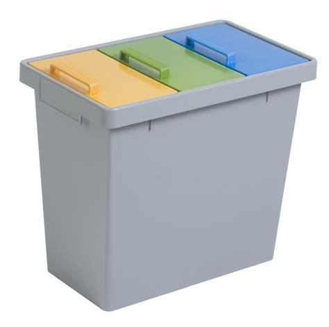 trash cans for kitchen durable 3 compartment recycling bin with colour co