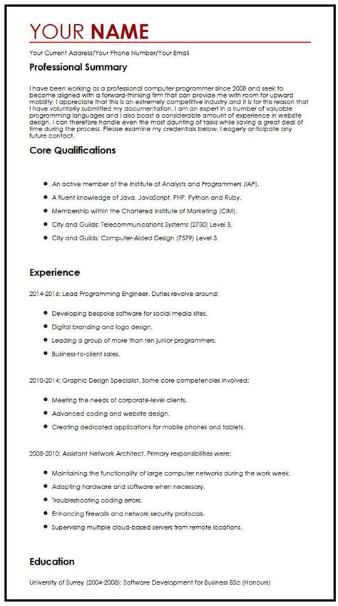 How To Create A Cv Template by Cv Exle For A Summer Myperfectcv
