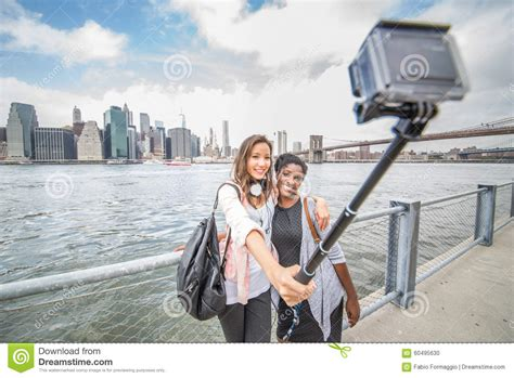 picture at selfie selfie at manhattan stock photo image of mobile